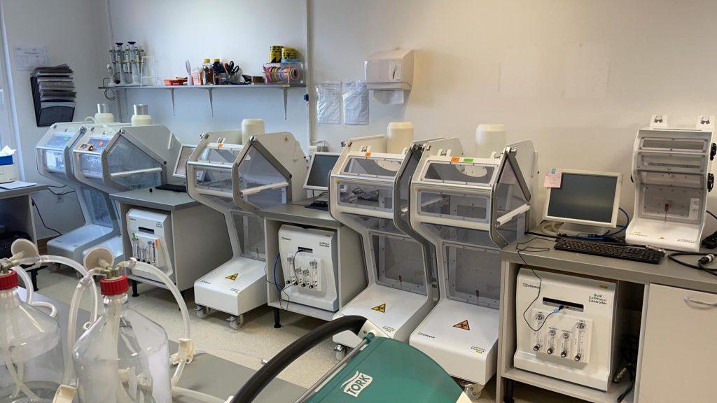 50L SU CellMaker bioreactors in a bacteriophage production lab